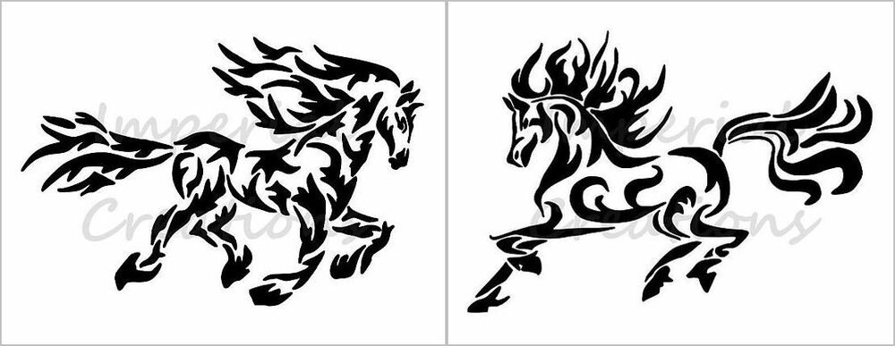 "SET OF 2 /""HORSE FACE/"" Equine Animal Breed 8.5/"" x 11/"" Stencil Plastic Sheet NEW"