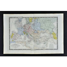 1860 Ansart Map Europe of Charles V in 1556 - France Spain Germany Italy Austria