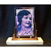 Art Deco French Copper, Brass, Marble & Glass Photo Frame Dated 1949