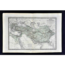 c 1860 Ansart Map - Alexander the Great Empire Ancient Greece Turkey Middle East