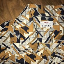 Vtg 60s 70s Gold Navy Abstract ENRO Mens LARGE Ugly Hippie Disco Dress shirt L
