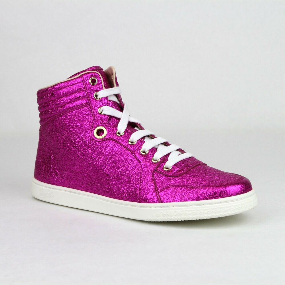 6cc9553952d Details about New Gucci Women s Hot Pink Metallic Leather Hi Top Sneakers  409793 5600