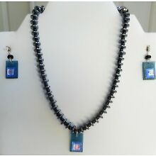 Handmade Fused Glass Jewelry Earrings Necklace with Pendant Semi Precious Beads