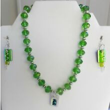 Handmade Fused Glass Jewelry Earrings Necklace with Pendant Green Faceted Beads