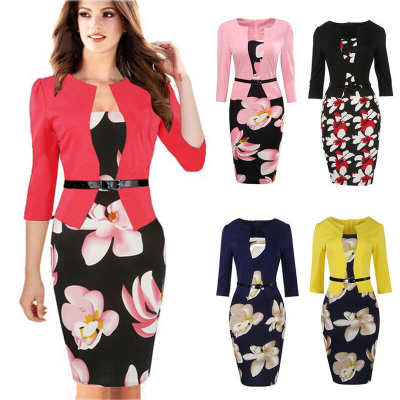 0651ae70d6f Details about Office Women Elegant Floral Wear To Work Party Bodycon Pencil  Dress Set+Belt Hot