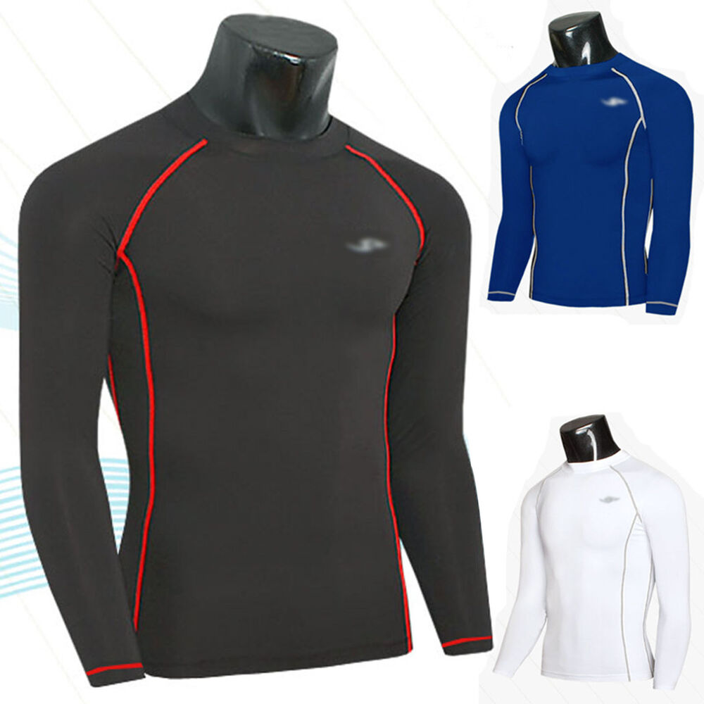 52498262f2 Details about Men's Compression Tops Under Skin Base Layers Tight Sport T- Shirts Gym Athletic