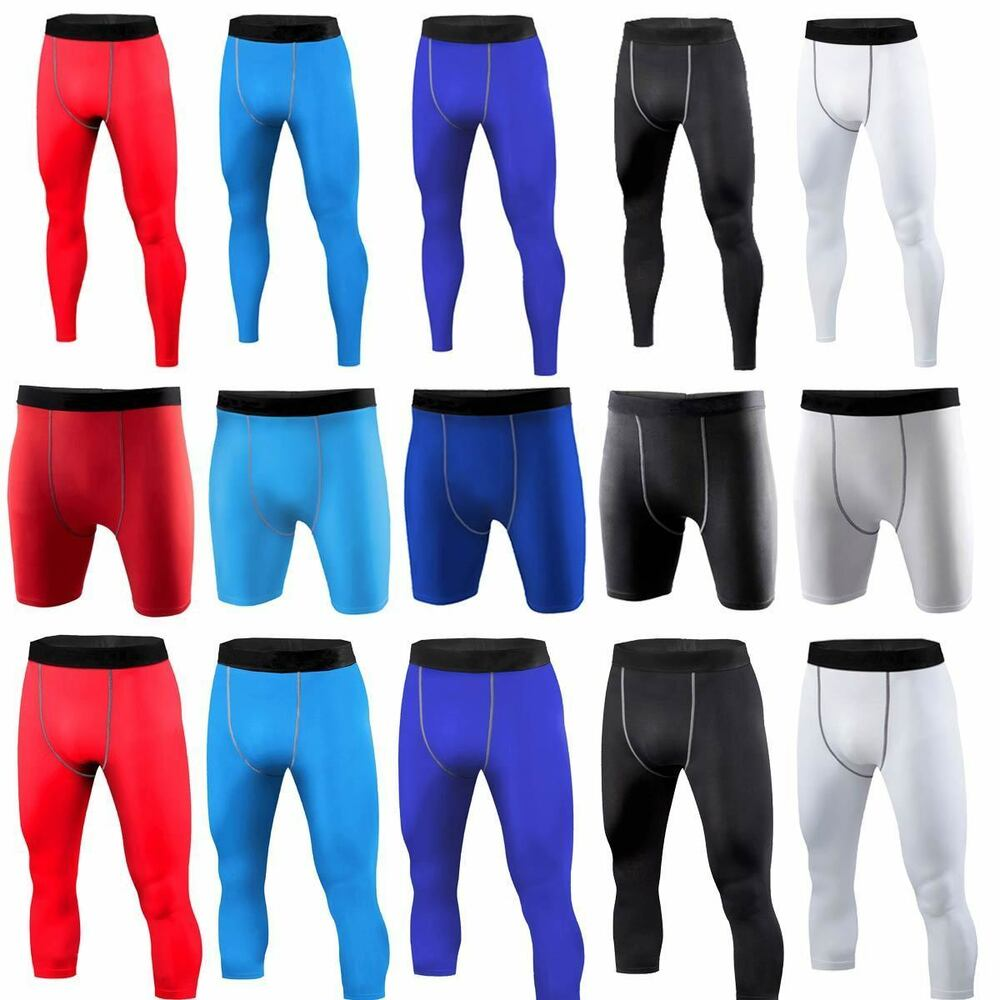 1bb50acc97b54 Details about Men Gym Sport Thermal Tight Compression Base Layer Pants  Shorts Leggings 3 Types