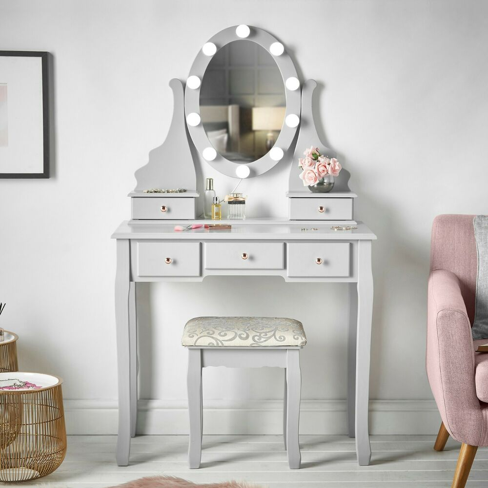 Grey Hollywood Led Lights Dressing Table With 5 Drawers Stool Mirror