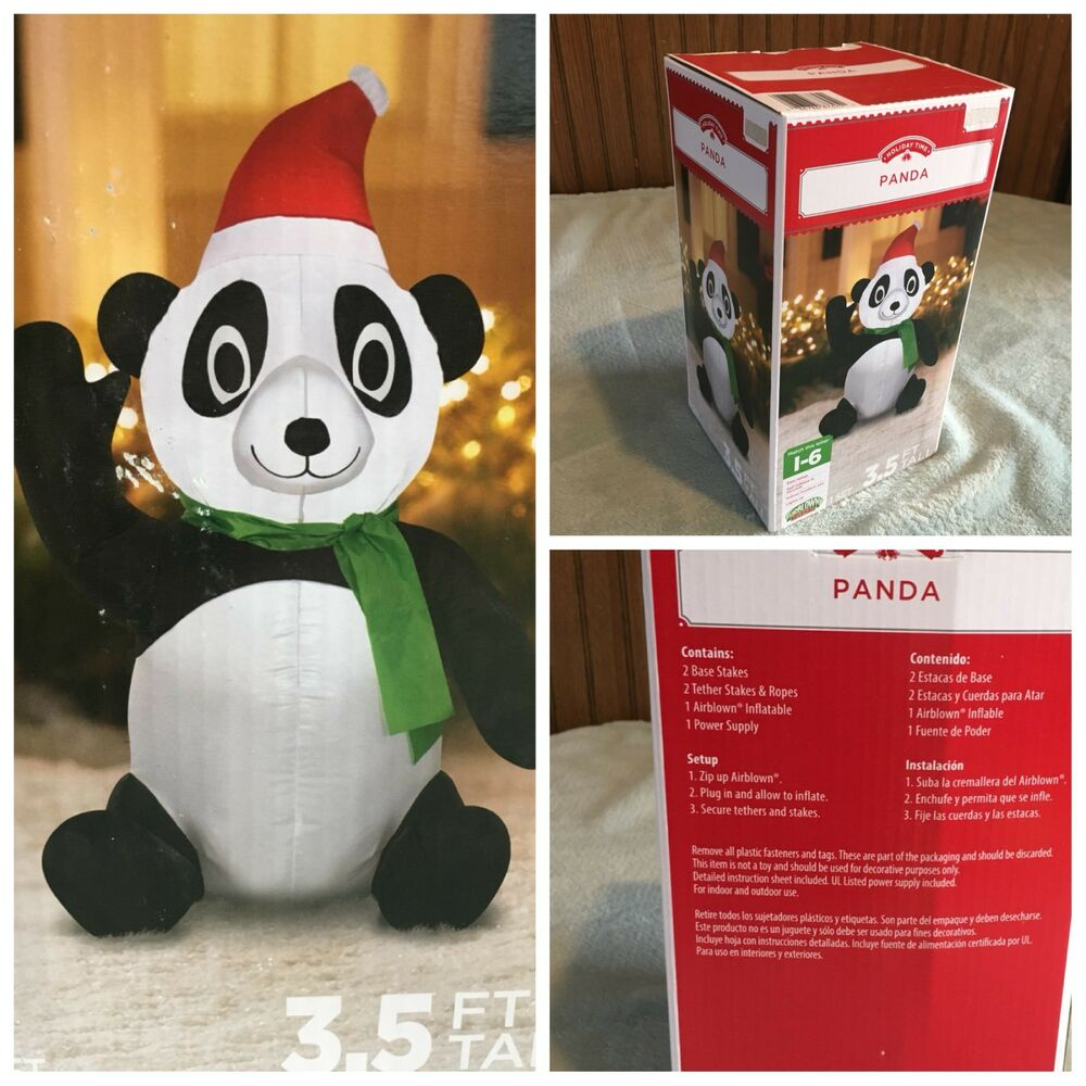 New 3 5 Panda Inflatable Lighted Christmas Gemmy Airblown