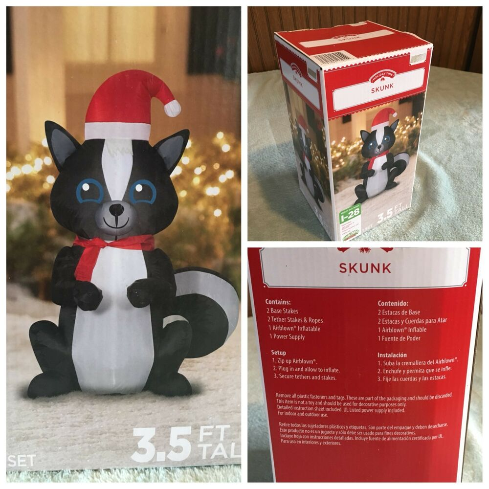 Does Lowes Sell Christmas Trees: New 3.5' SKUNK INFLATABLE Lighted Christmas Gemmy Airblown