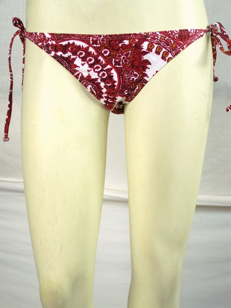 26fcbd7794048 Details about B-Split Dark Red White Swimwear String Bikini Bottoms Juniors  Size Small 3 5