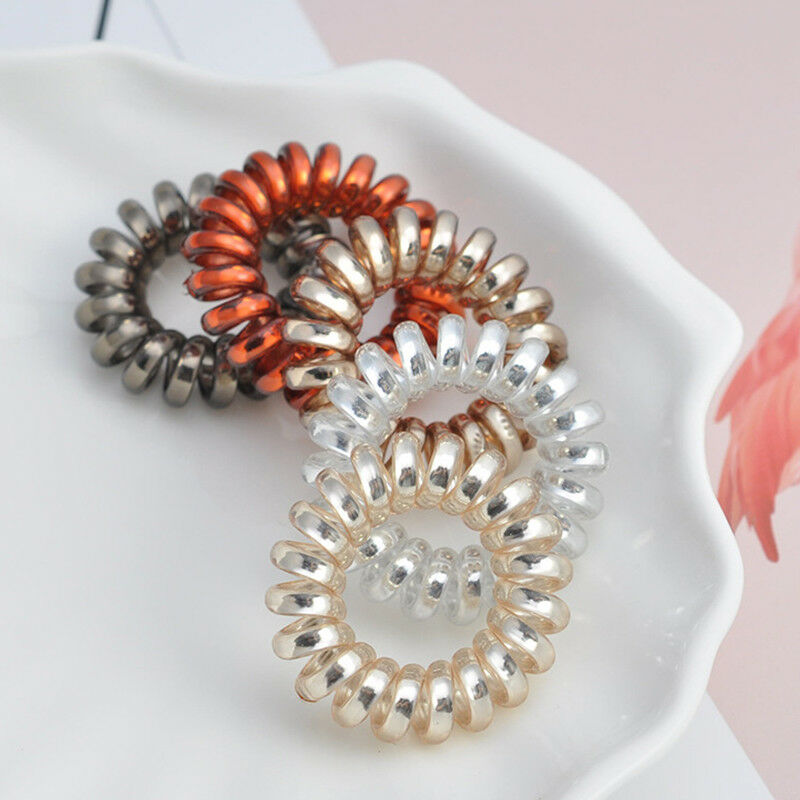Details about 4Pcs Plastic Spiral Hair Bobble Telephone Cable Ties Spiral  Headband girl Hair 30560550c09