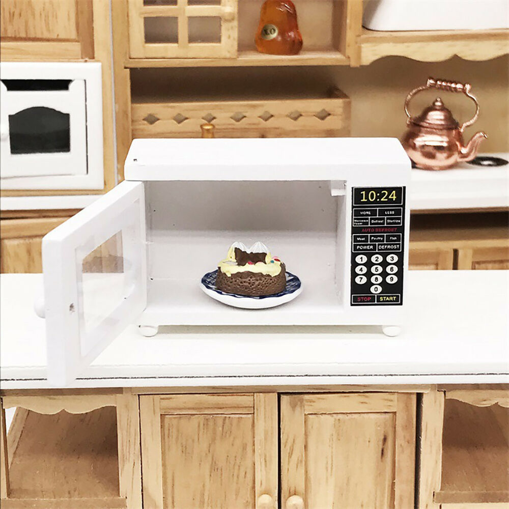 Wood Miniature Microwave Oven For 1 12 Dollhouse Kitchen Furniture