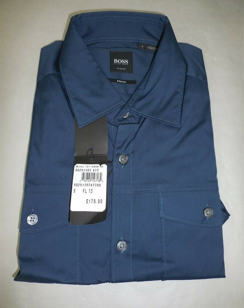 120689812 Details about NWT Men's Hugo Boss 'Mirko' Slim Fit Stretch Blue Button-Down  Sport Shirt