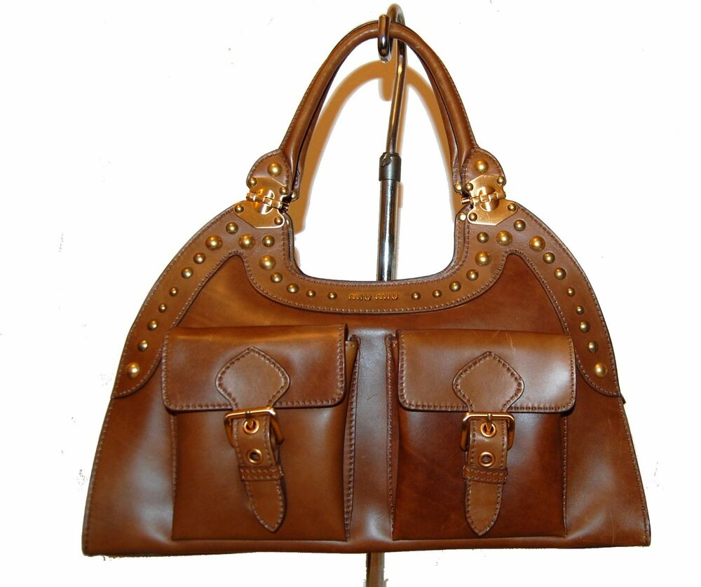 Details about Miu Miu Women s Brown Bag Purse Satchel Top Handle Leather  AUTHENTIC aa04ae06fe