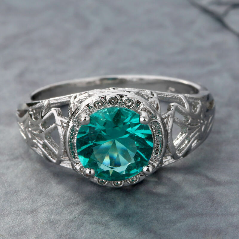 Fashion 1.2CT Emerald 925 Silver Wedding Bridal Ring Women/'s Jewelry Happy