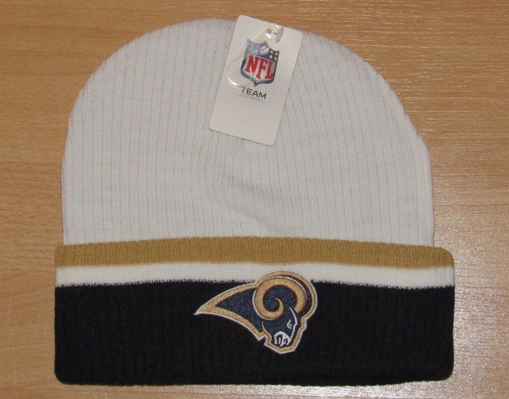 best website 46809 3a733 Details about Los Angeles Rams White Gold Navy Team Cuffed Beanie Winter Knit  hat cap Men s