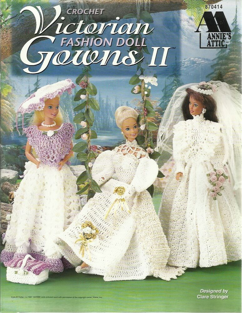 Victorian Fashion Doll Gowns 2 Crochet Patterns Dresses For Barbie