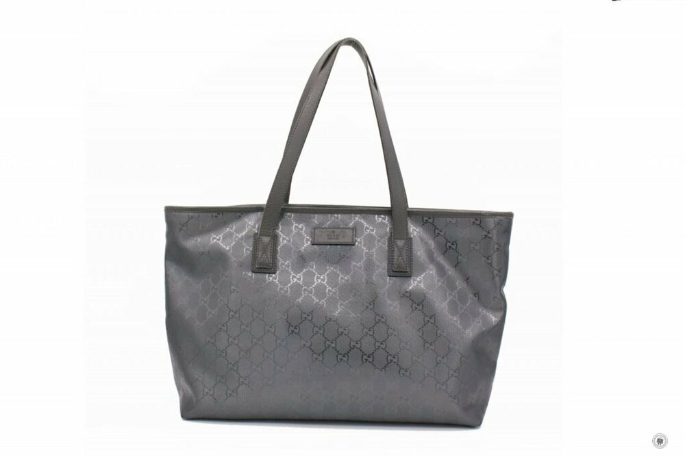 4800f15d265f41 Details about Used Gucci 211137 FU49N Medium Tote Grey GG Imprime Medium Tote  Bag Shw - Authen