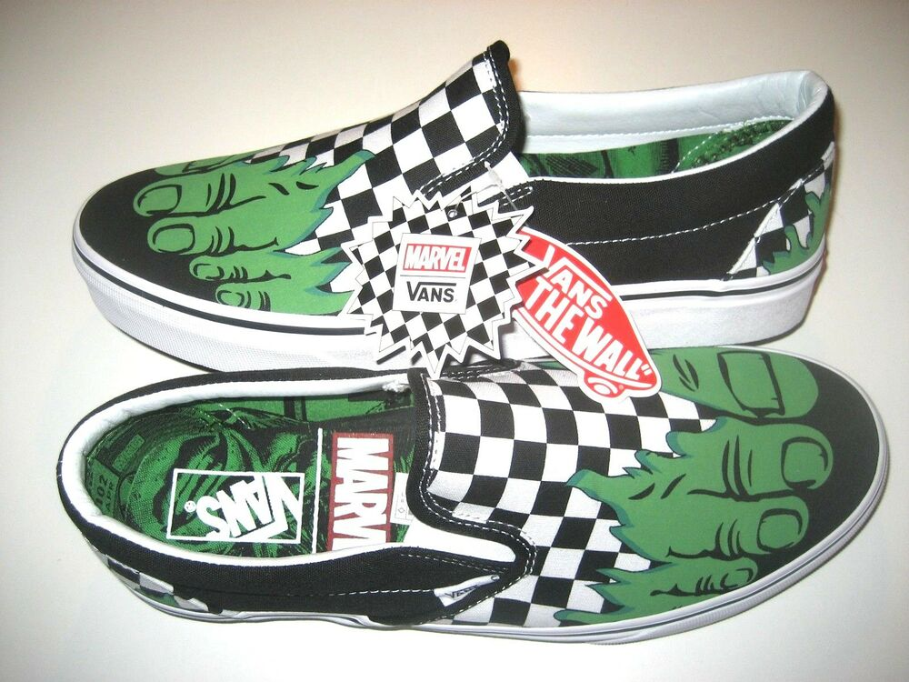 ee004a0454 Details about Vans x Marvel Hulk Checker Classic Slip on Womens Canvas  Skate shoes Size 9.5