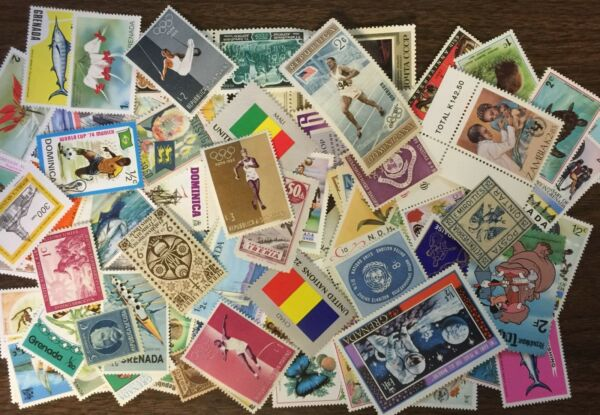 [Lot B] 100 Different Mint/MH/MNH/MNG Worldwide stamps off paper - GREAT value!
