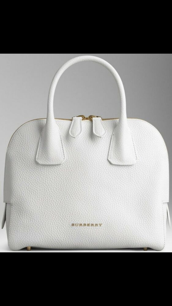 Details about NEW Burberry London Grainy Leather Small Greenwood Bowling  White Bag 25db567f9483d