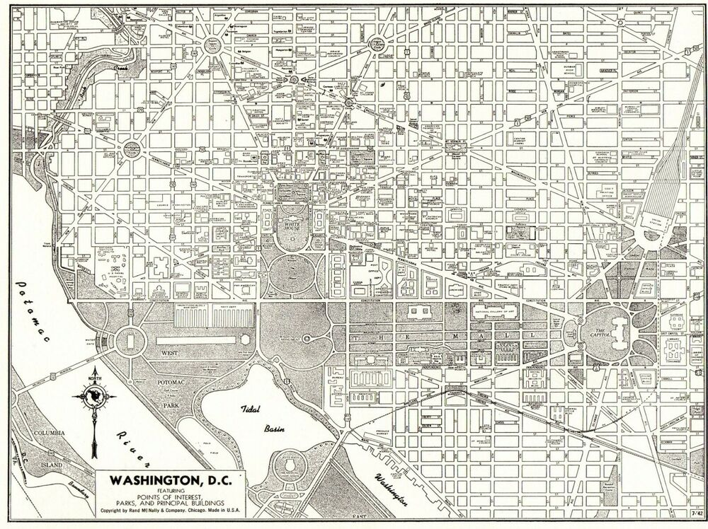1947 Antique WASHINGTON DC City Map Black and White Gallery ... on