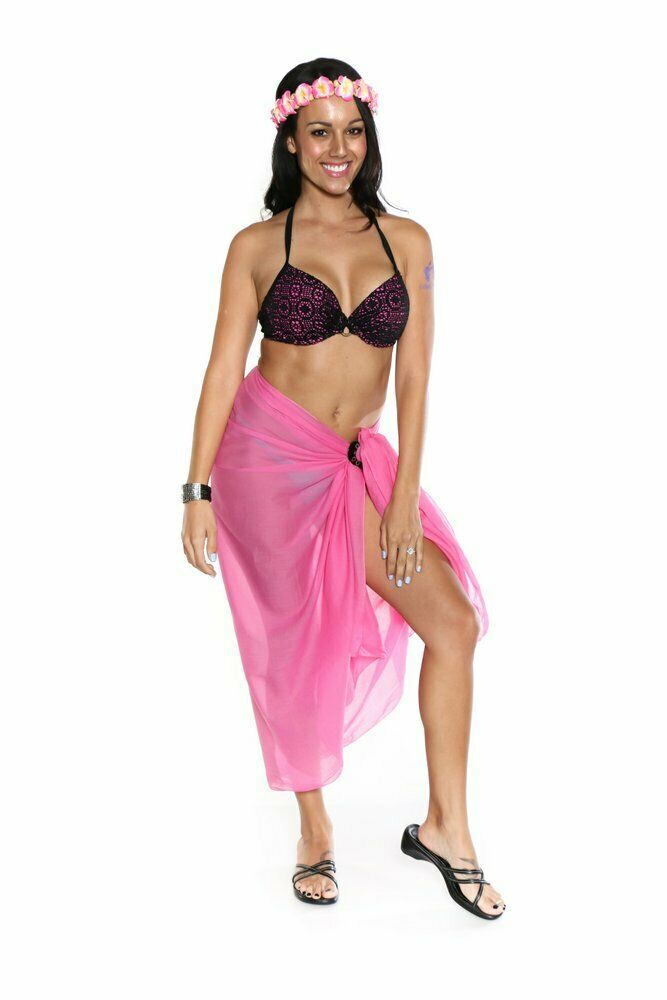 8029f9a189e45a Details about 1 World Sarongs Womens Swimsuit Cover-Up Light Weight Cotton  Sarong in Pink