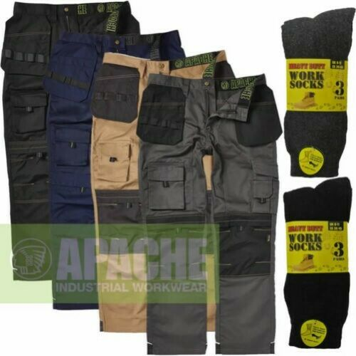 Apache Mens Heavy Duty Cargo Work Cordura Trouser Holster Pocket FREE Work SOCKS