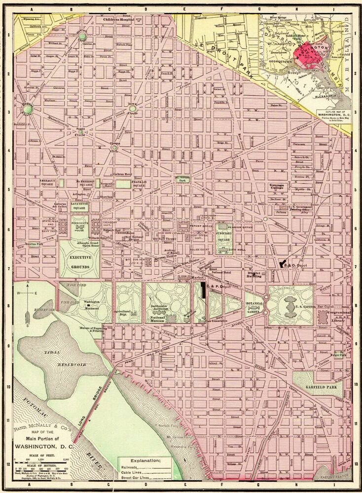 1900 Antique WASHINGTON DC Map Vintage City Map Of DC Gallery Wall on