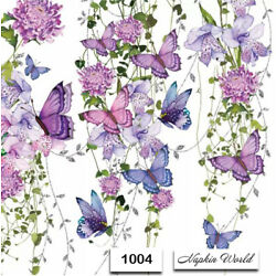Kyпить (1004) TWO Individual Paper Luncheon Decoupage Napkins - VINES BUTTERFLY FLOWERS на еВаy.соm