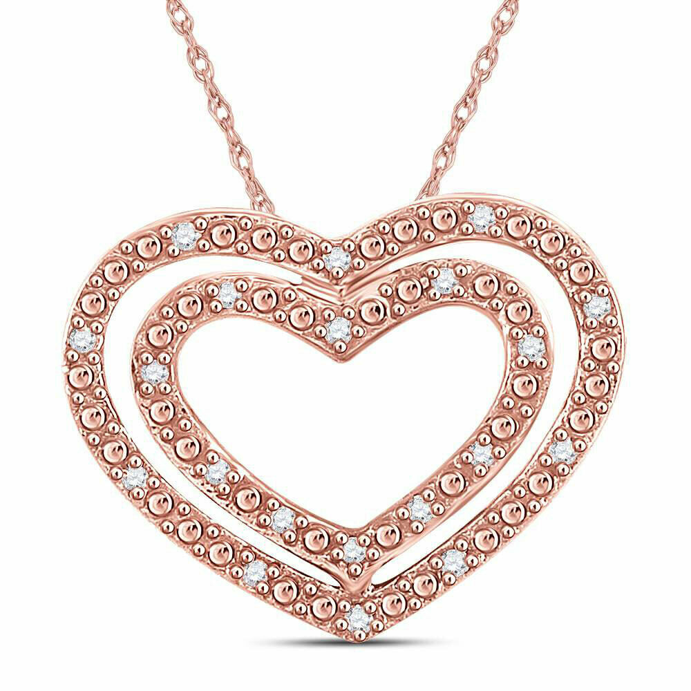 596b85b5ef630f Details about 10kt Rose Gold Womens Round Diamond Double Heart Pendant 1/12  Cttw