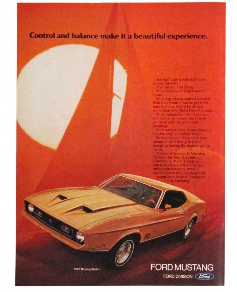 Details About 1972 Ford Mustang Adver Mach I Car Sailboat Motion Vintage Print Ad
