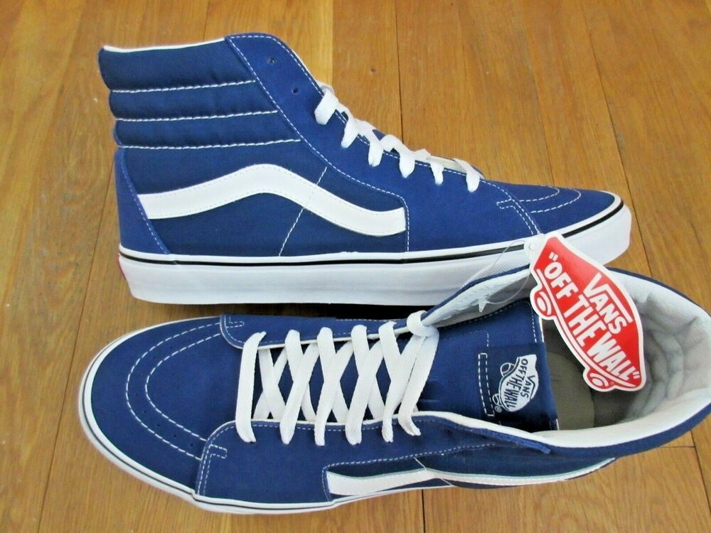 7332d6cbca8 Details about Vans Mens Sk8-Hi Estate Blue True White Canvas Suede Skate  Shoes Size 11 NWT