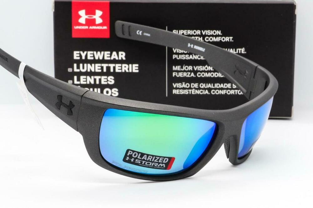00d450ab23 Details about UNDER ARMOUR RUMBLE SUNGLASSES Satin Carbon Green Mirror  Storm Polarized ANSI