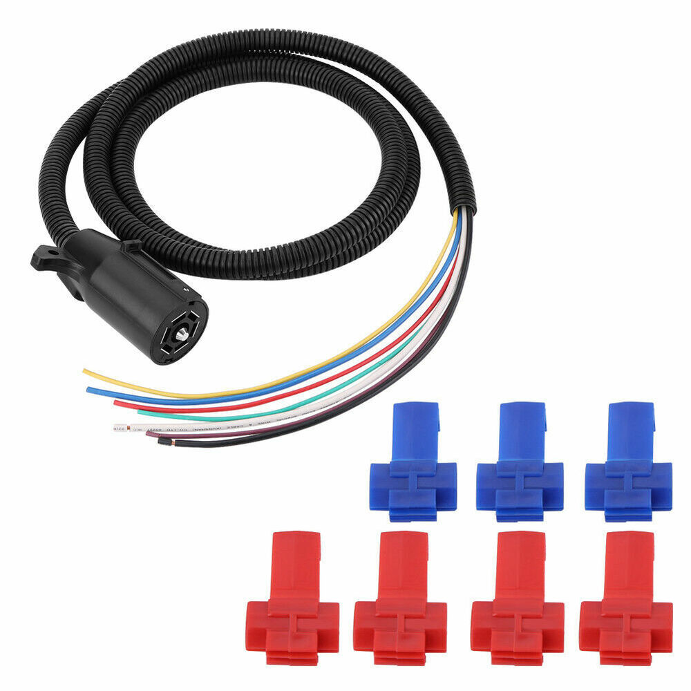 details about trailer cable cord 7-way wire harness light plug rv truck  boat towing connector