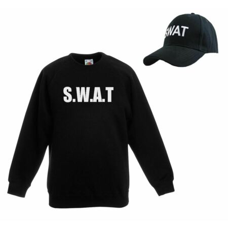 img-Unisex Black SWAT Police Riot Team Special Forces Cap & Sweatshirt Set