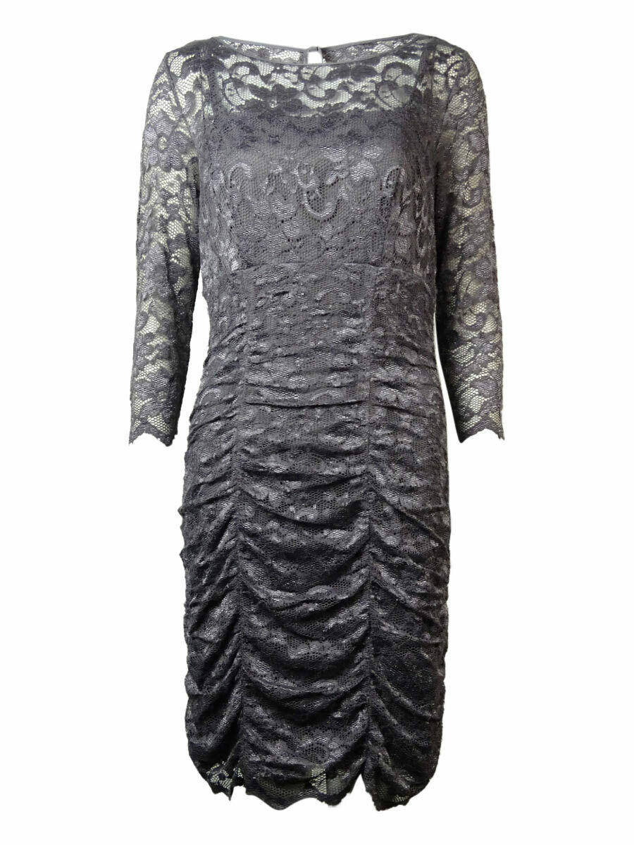UPC 689886002072 product image for Jessica Howard Women's Lace Overlay Ruched Dress (6, Grey) | upcitemdb.com