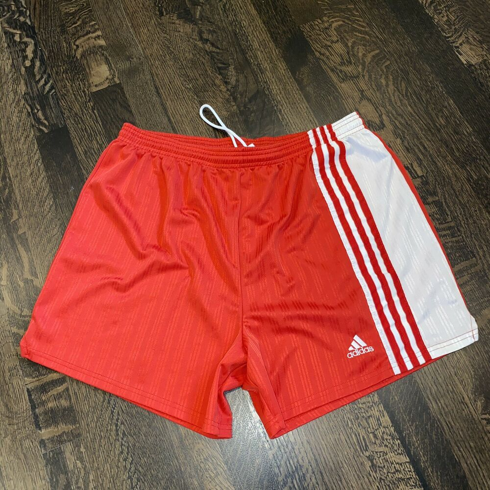 560a849971 Details about Vtg 80s 90s ADIDAS Red White Striped MENS XL Polyester Soccer  Jersey gym Shorts