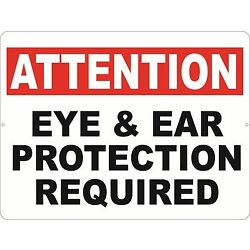 Attention Eye & Ear Protection Required Sign. Size Options. Protective Gear Eyes