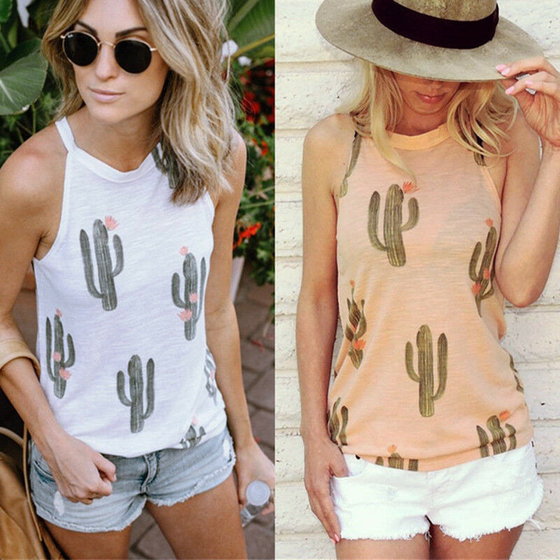 5756fd04bd12a Details about Womens Cactus Printed Vest Tank Tops Loose Sleeveless Summer  Beach Smock T-Shirt