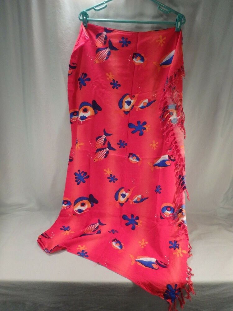 e20a5941af Details about Womens Red Blue Orange Tropical Fish Sarong Bathing Suit  Cover-Up Dress Wrap