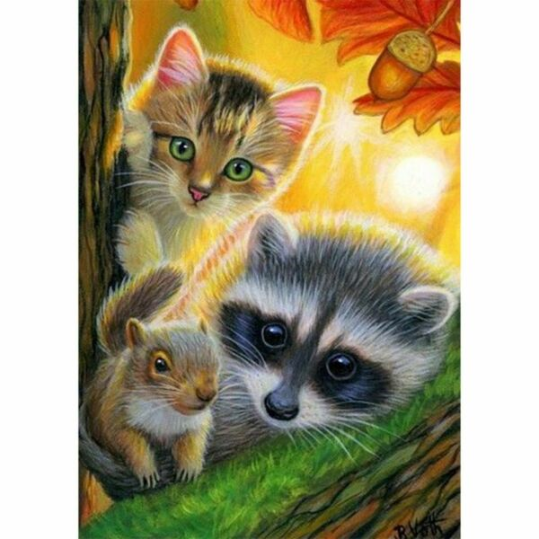 DIY 5D Full Diamond Cats Painting Embroidery Cross Stitch Home Wall Art Decor