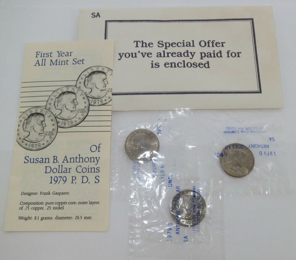 *MINT CELLO*  **FREE SHIPPING** 1980 P D S Susan B Anthony Dollar Set 3 coins