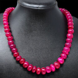 500.00 Cts Earth Mined 20 Inches Long Red Ruby Round Beads Necklace NK 13E69