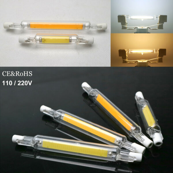 R7s LED Bulb Dimmable Glass Ceramic Tube Light 6W 12W 78mm 118mm Replace Halogen