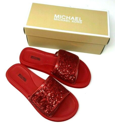 Michael Kors Womens Eli Gear Slides Sandals Shoes Red New & Free Shipping!
