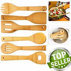 Kyпить 6 Piece Wooden Cooking Utensil Set Bamboo Kitchen Spatula Spoons Tools Wood Kit  на еВаy.соm