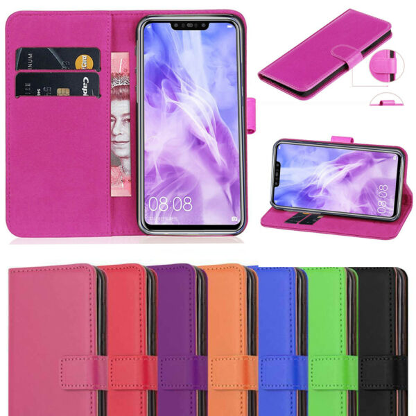 For Huawei P Smart 2017-18-2019 Wallet Stand PU Leather Magnetic Flip Case Cover