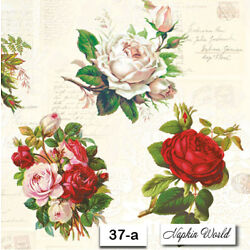 (37-a) TWO Individual Paper Luncheon Decoupage Napkins - ROSES FLOWERS BASKETS